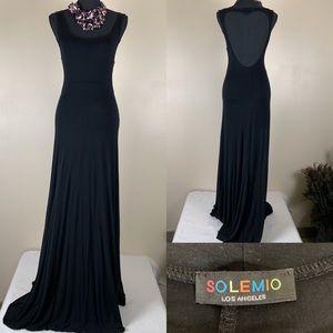 Solemino Dress Maxi Knit Deep Cut Back